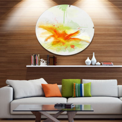 Designart Yellow Red Flower with Color Splashes Floral Metal Round Wall Decor