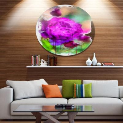 Designart Purple Watercolor Rose Painting FloralMetal Round Wall Decor