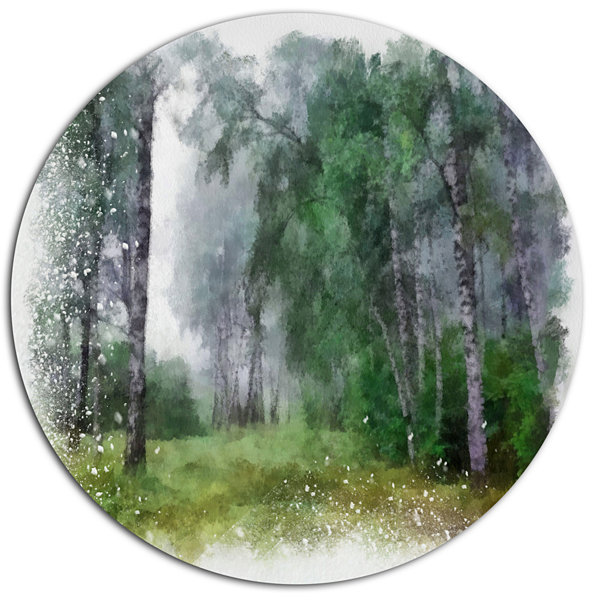 Design Art Green Forest Watercolor Drawing Oversized Large Landscape Aluminium Wall Art
