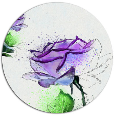 Designart Blue Rose Flowers with Green Leaves Floral Metal Round Wall Decor