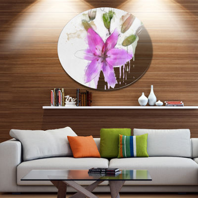 Designart Beautiful Purple Floral Illustration Floral Metal Round Wall Decor