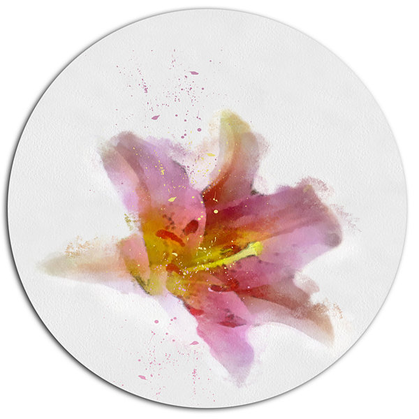 Designart Watercolor Pink Lily Flower Sketch Oversized Floral Aluminium Wall Art