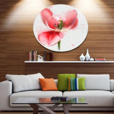 Designart Wonderful Red Poppy Watercolor OversizedFloral Aluminium Wall Art