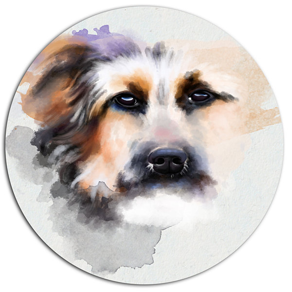 Designart Sad Dog Watercolor Illustration Oversized Animal Aluminium Wall Art