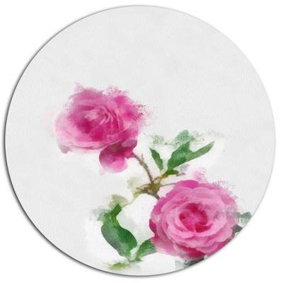 Designart Rose Stem with Pair of Roses Floral Metal Round Wall Decor