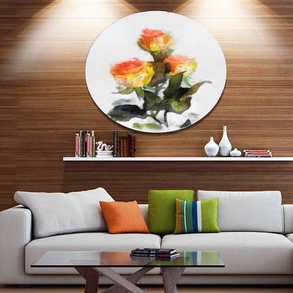 Designart Hand drawn Yellow and Red Roses FloralMetal Round Wall Decor