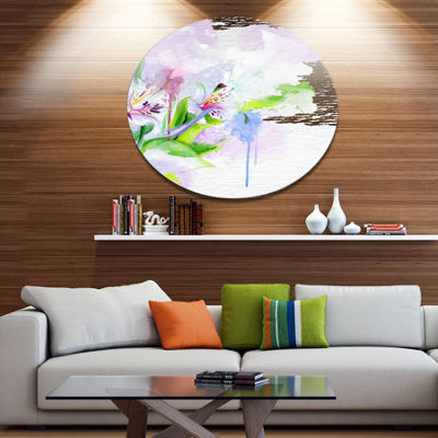 Designart Beautiful Floral Sketch Watercolor Floral Metal Round Wall Decor