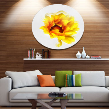 Designart Yellow Watercolor Sunflower Floral MetalRound Wall Decor