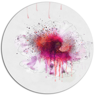 Designart Stylish Pink Watercolor Flower Floral Metal Round Wall Decor