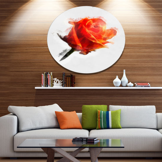 Designart Red Rose Drawing with Watercolor FloralMetal Round Wall Decor