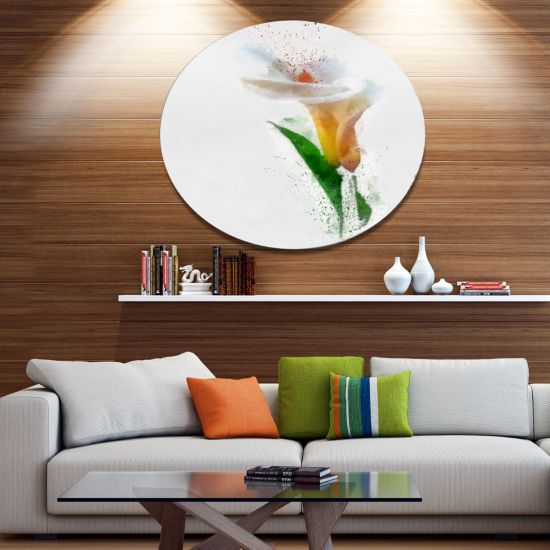 Designart Beautiful Flower with Paint Splashes Large Floral Metal Artwork