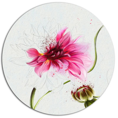 Designart Pink Flower with Stem and Bud Floral Metal Round Wall Decor