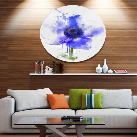 Designart Blue Anemone Sketch Watercolor Floral Metal Round Wall Decor