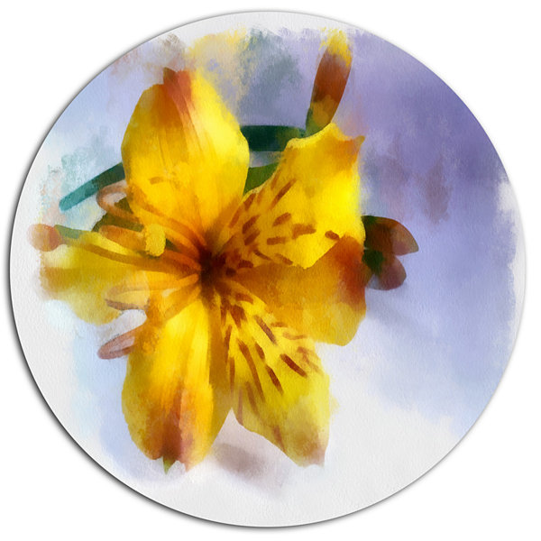 Designart Yellow Lily Hand drawn Flower Floral Metal Round Wall Decor