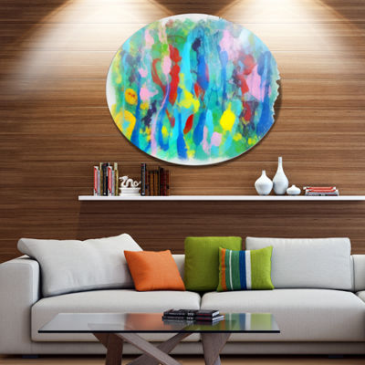 Designart Hand drawn Multi color Floral Pattern Large Abstract Metal Round Wall Decor