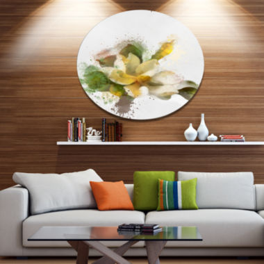 Designart Beautiful Flower with Color Splashes Floral Metal Round Wall Decor