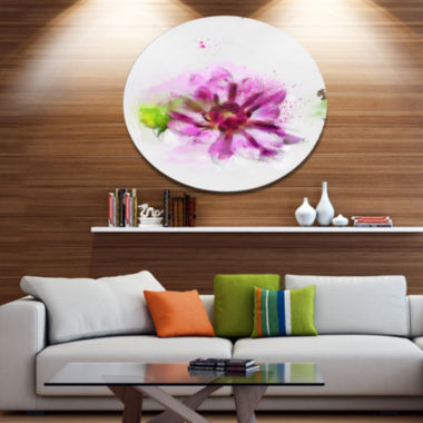 Design Art Purple Flower with Green Leaves FloralMetal Round Wall Decor