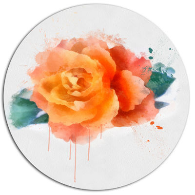 Designart Orange Rose with Green Leaves Floral Metal Round Wall Decor