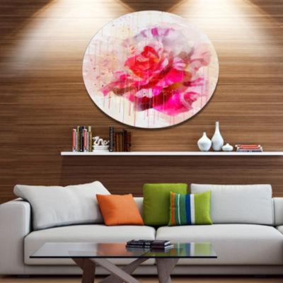 Designart Red Rose with Watercolor Splashes FloralMetal Round Wall Decor