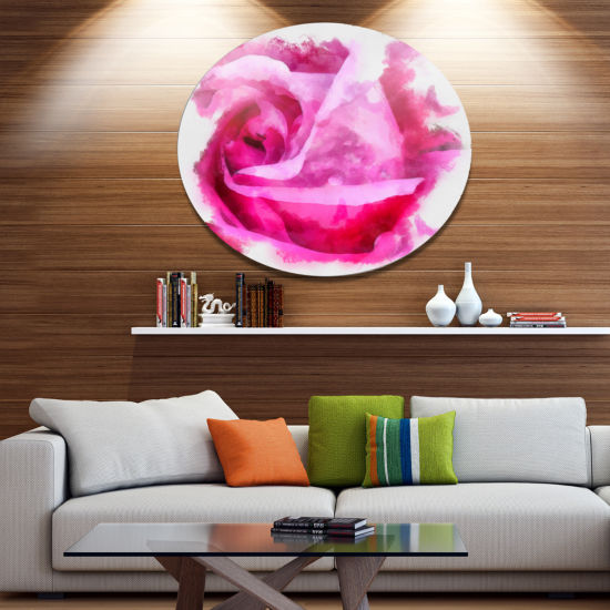 Designart Bloomy Pink Rose Watercolor Drawing Floral Metal Round Wall Decor