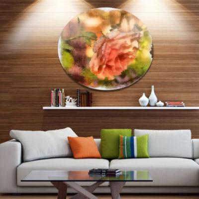 Designart Full Bloom Orange Rose Watercolor FloralMetal Round Wall Decor
