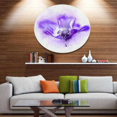 Designart Stylized Watercolor Poppy Flower FloralMetal Round Wall Decor
