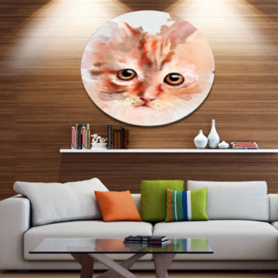 Designart Red Watercolor Kitten Sketch Animal Metal Round Wall Decor