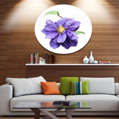 Designart Purple Watercolor Summer Flower FloralMetal Round Wall Decor