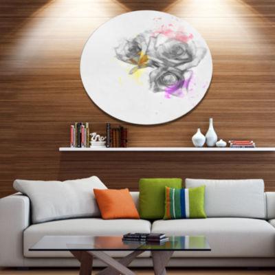 Designart Black White Watercolor Rose Sketch Floral Metal Round Wall Decor