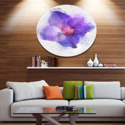 Designart Large Petal Watercolor Blue Flower Floral Metal Round Wall Decor