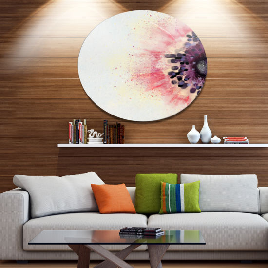Designart Pink Purple Abstract Flower Sketch Floral Metal Round Wall Decor