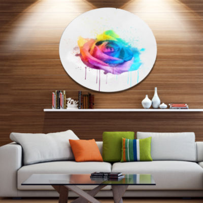 Designart Multicolor Watercolor Rose Flower Oversized Floral Aluminium Wall Art