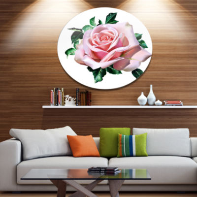 Designart Watercolor Rose with Green Leaves Oversized Floral Aluminium Wall Art