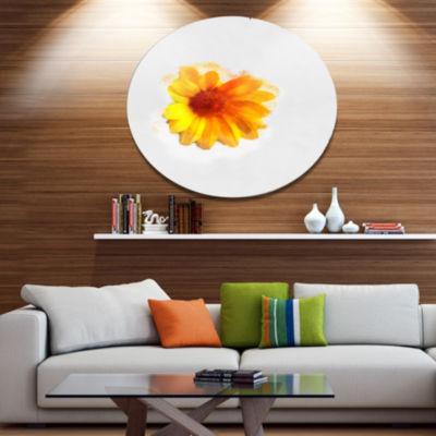 Designart Watercolor Yellow Coreopsis Sketch Oversized Floral Aluminium Wall Art