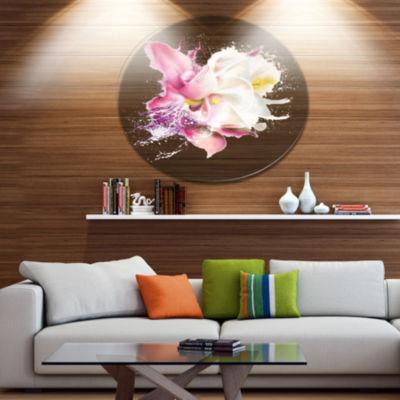 Designart Pink Rose Watercolor Illustration Oversized Floral Aluminium Wall Art