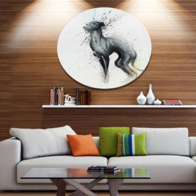Designart Black Dog Watercolor with Splashes Oversized Large Animal Metal Artwork