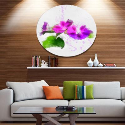 Designart Stem of Convolvulus Flower Drawing Oversized Floral Aluminium Wall Art