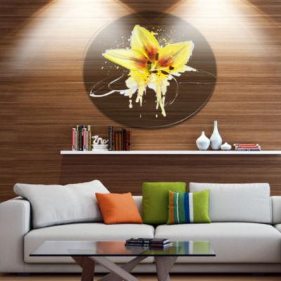 Designart Wonderful Yellow Lily Flower Sketch Oversized Floral Aluminium Wall Art