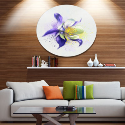 Designart Purple Flower with White Petals Oversized Floral Aluminium Wall Art