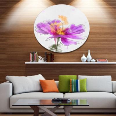 Designart Purple Flower Watercolor Illustration Oversized Floral Metal Round Artwork