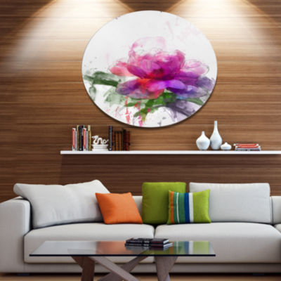 Designart Purple Peony Illustration Sketch Oversized Floral Metal Round Artwork