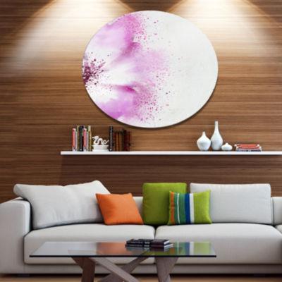 Design Art Abstract Purple Daisy Flower OversizedFloral Metal Round Artwork