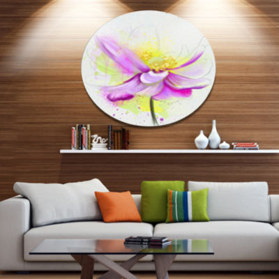 Designart Beautiful Purple Flower with Yellow Oversized Floral Metal Round Artwork