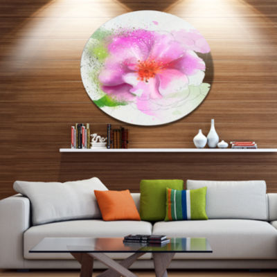 Designart Blooming Pink Flower Watercolor Disc Flowers Large Metal Circle Wall Artwork