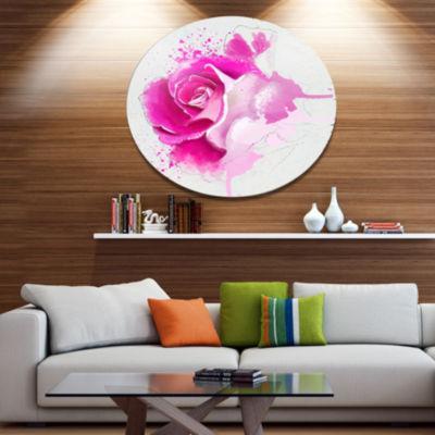 Designart Bright Pink Rose Flower Watercolor DiscFlowers Large Metal Circle Wall Artwork
