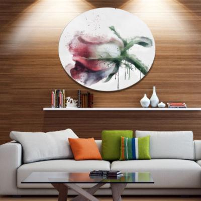 Designart Budding Pink Rose Watercolor Sketch DiscFlowers Large Metal Circle Wall Artwork