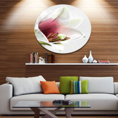 Designart Beautiful Lily Flower Watercolor Disc Flowers Large Metal Circle Wall Artwork