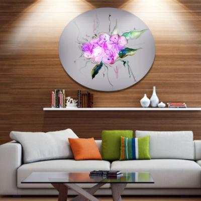 Design Art Purple and Pink Pansies Flowers Disc Large Animal Metal Circle Wall Art