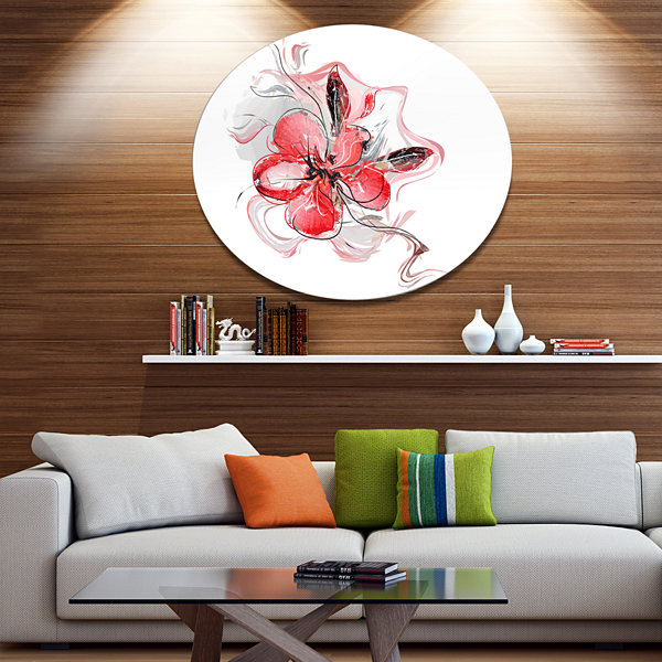 Design Art Red Floral Watercolor Sketch Disc LargeAnimal Metal Circle Wall Art