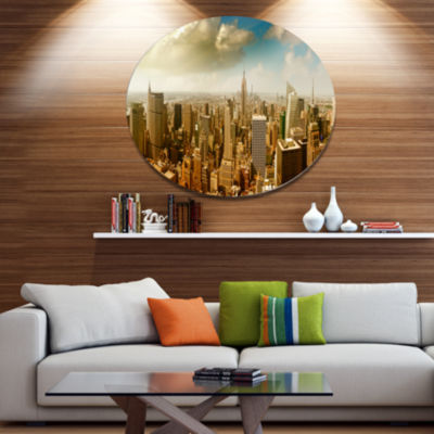 Design Art Midtown and Downtown Manhattan Disc Cityscape Metal Circle Wall Art